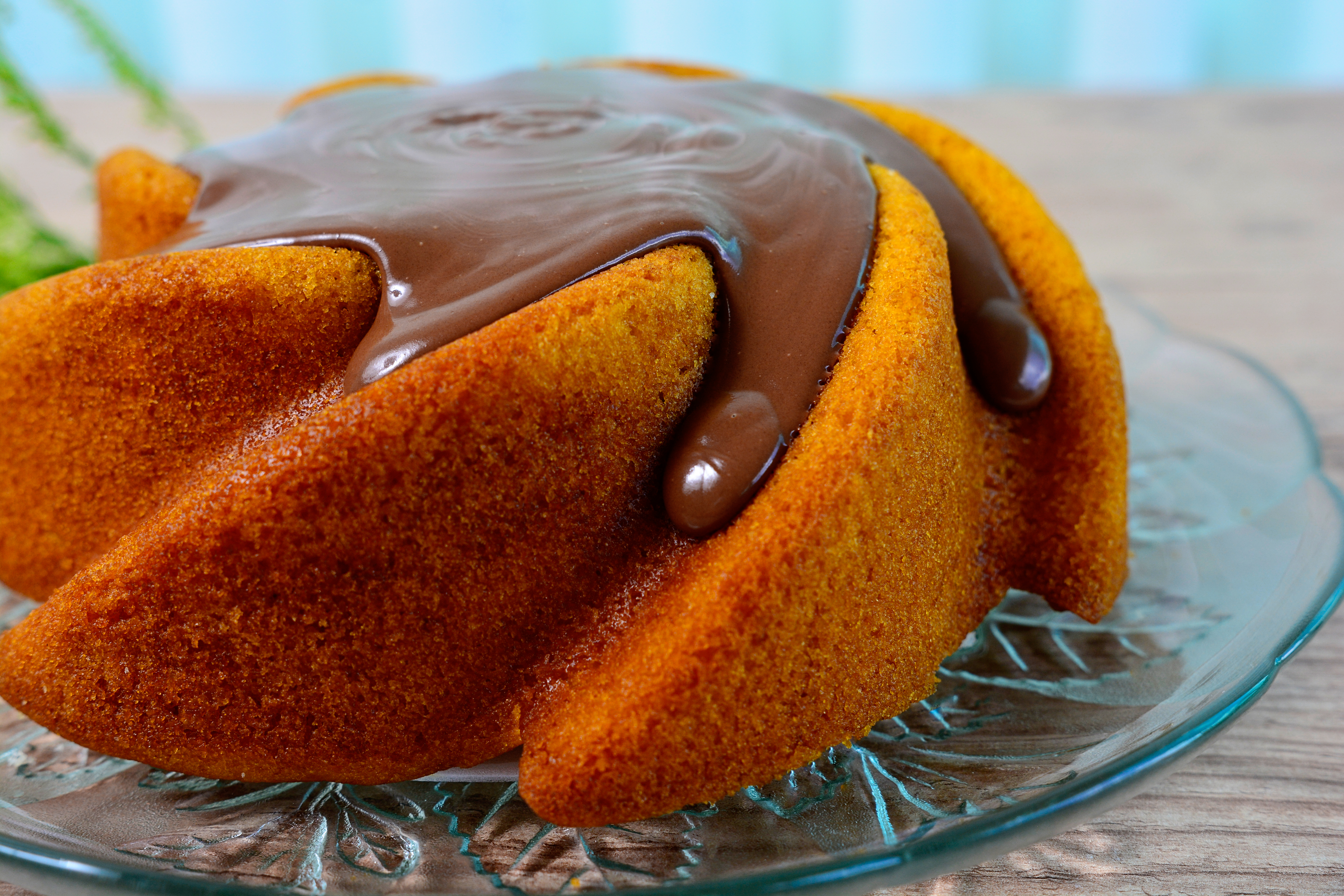 Cake With Chocolate and Chocolate Truffle Topping, Close Up View of Carrot cake