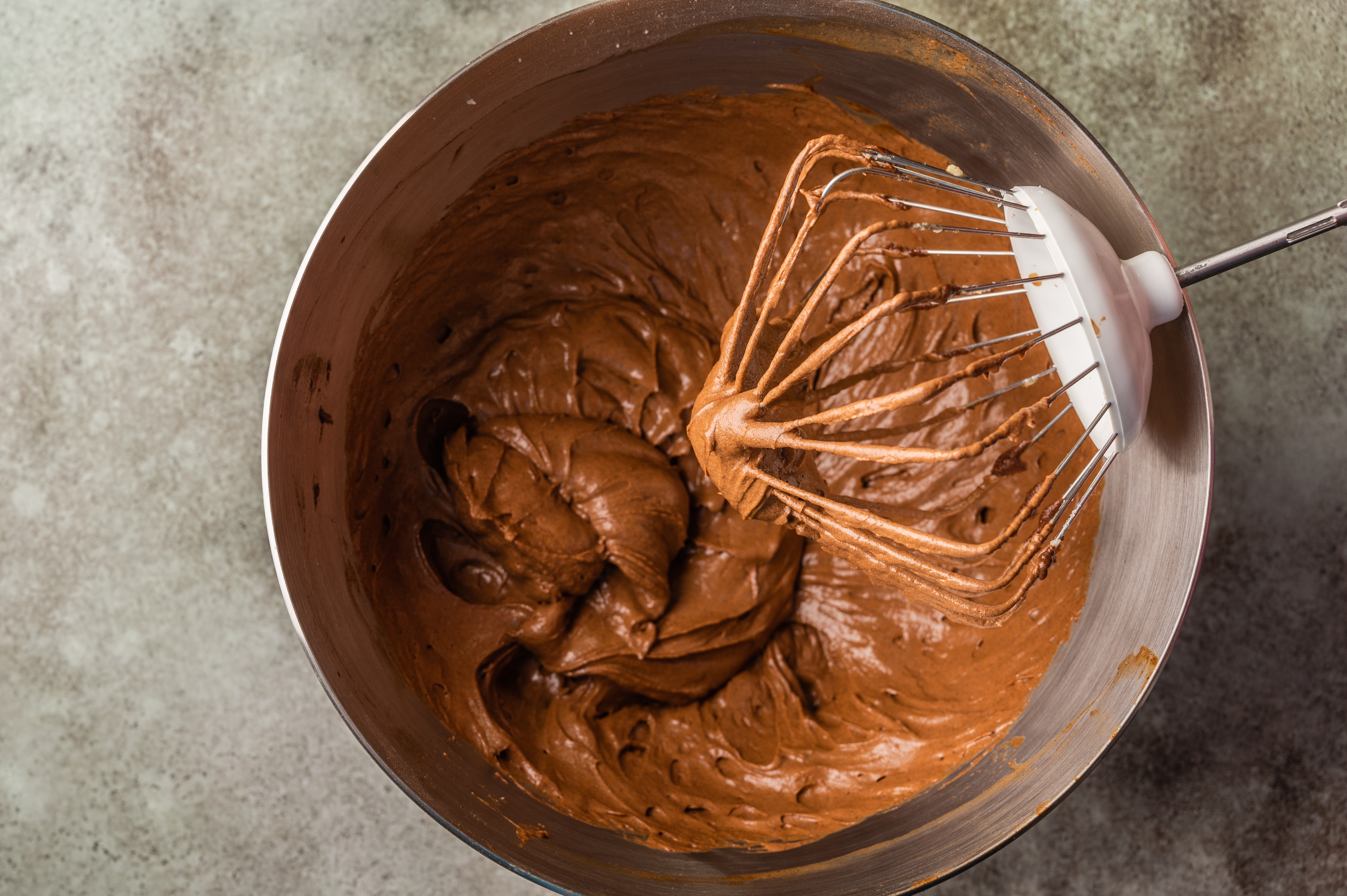 Mixing brownie dough in a food processor. Top view. Horizontal orientation in Oryol, Oryol Oblast, Russia