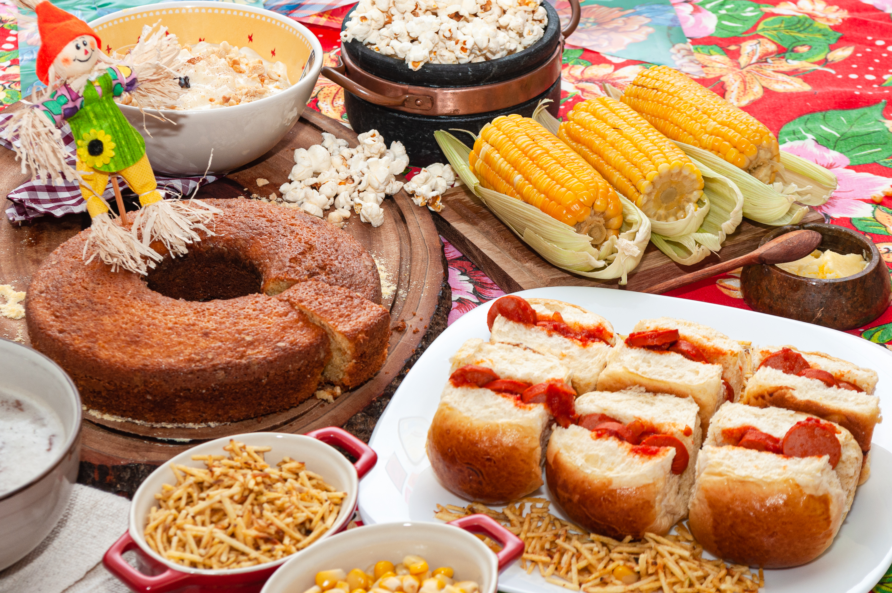decorated table with typical brazilian food, often served at 'june parties'