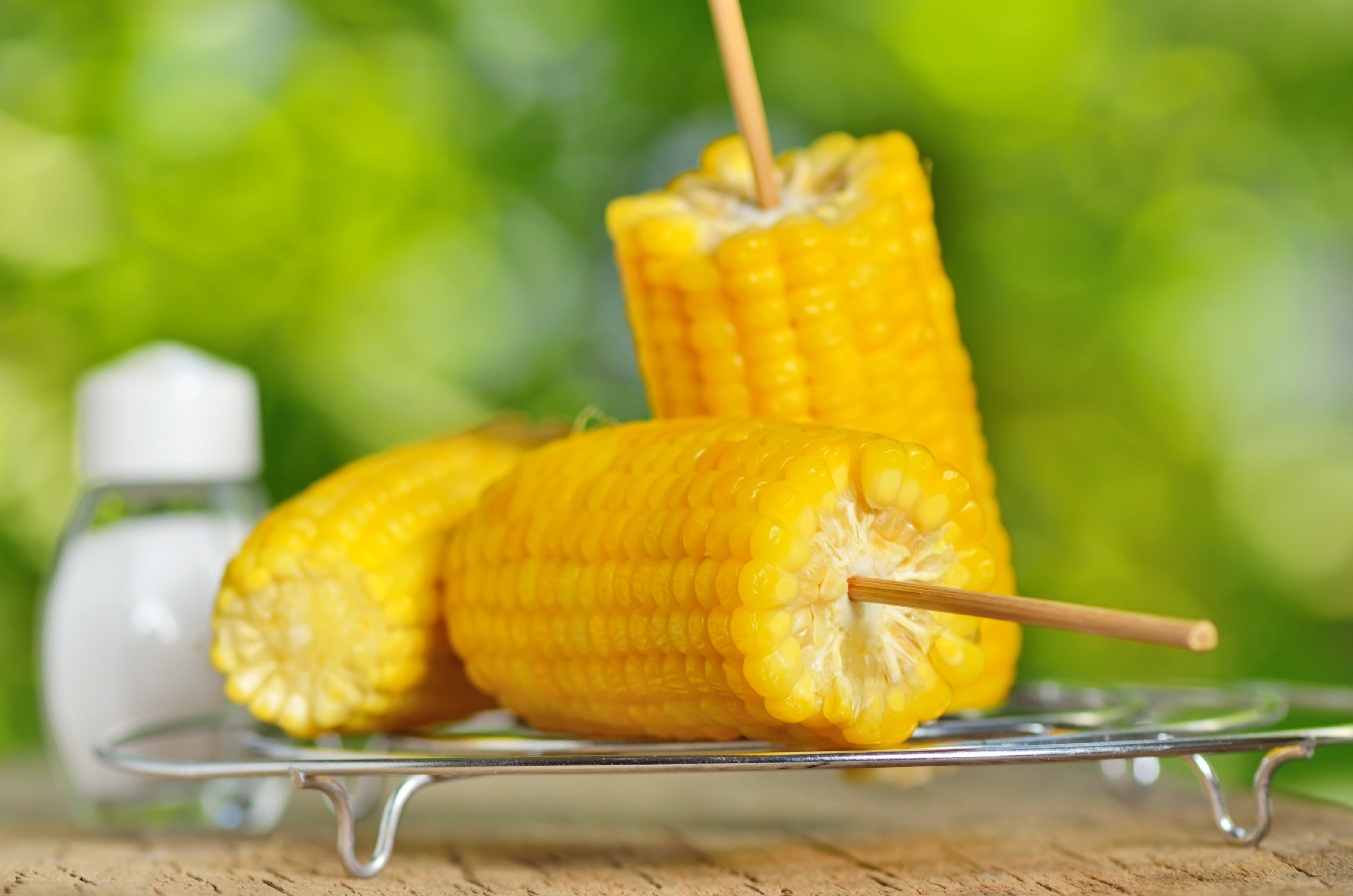 corn boiled on metal support